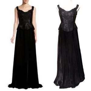 Basix Black Label Beaded Velvet Dress Gown 4 NWT